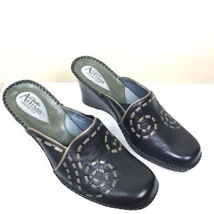 Clark's Black Wedged Mules Size 7.5m